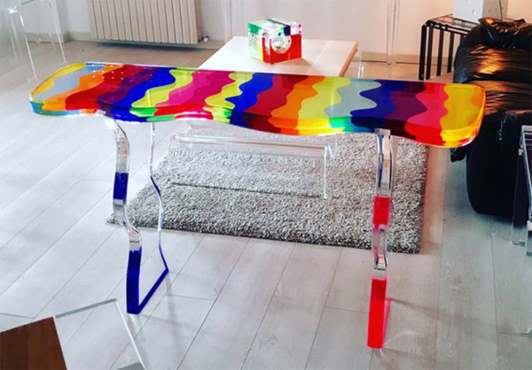 Cast acrylic console table 'Fluid' M. Pettinari