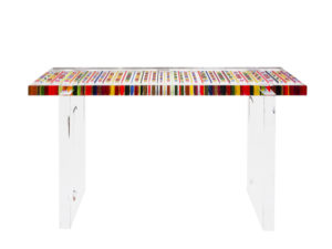 cast acrylic console table Missoni by Poliedrica