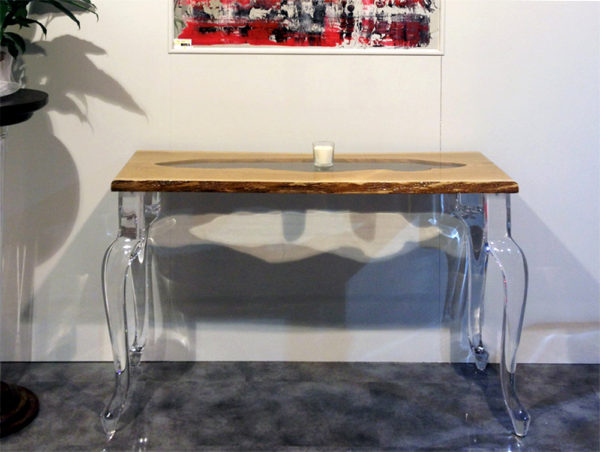 Lucite wood console Laguna by Poliedrica