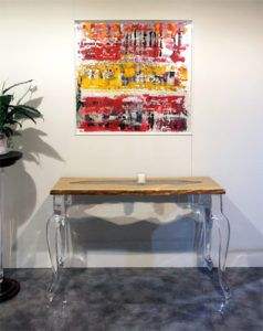 Lucite and wood console table Laguna