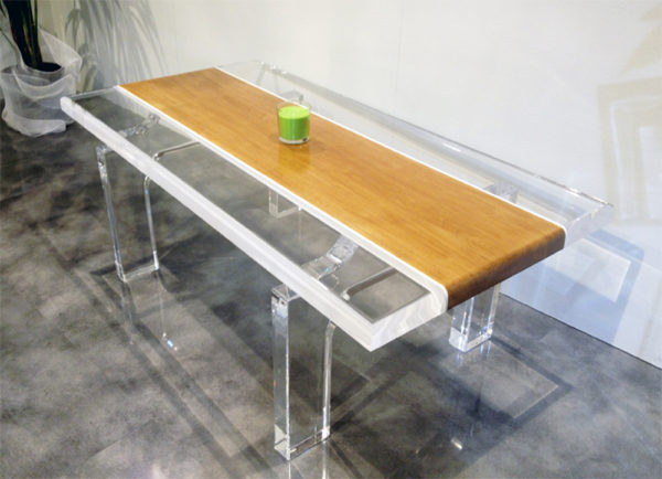 lucite wood coffe table stripes