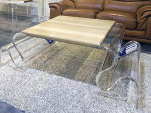 tavolo salotto plexiglas legno waves