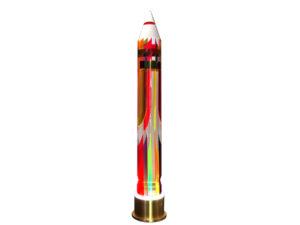Plexiglass luminous sculpture Rocket by Poliedrica